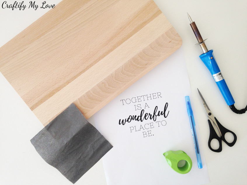 read up to learn which wood and supplies to use for wood burning projects such as this personalised cutting board