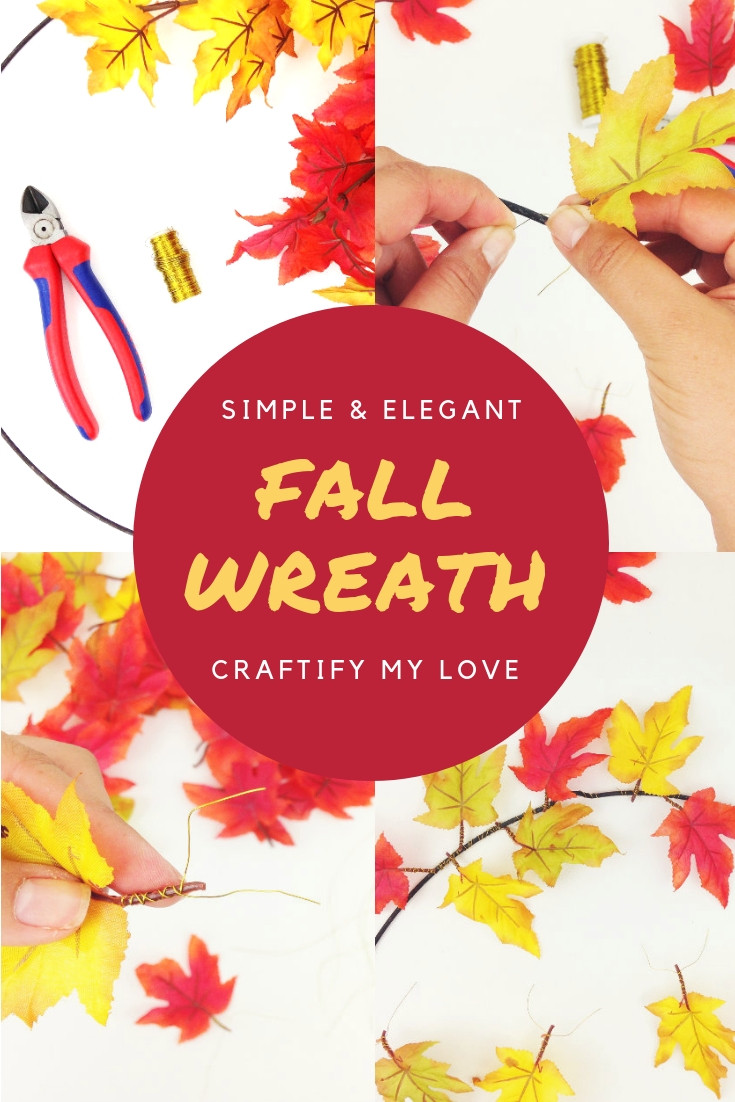 Four simple steps to DIY this fun simple fall wreath. Click for instructions. #craftifymylove #fallcraft #falldecor #diy #wreath #simplecraft