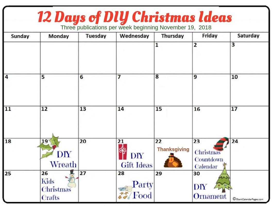 12 Days Of Christmas Ideas.12 Days Of Christmas Diy Ideas 2018 Post Calendar November