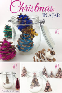 3 frugal ideas for a beautiful and simple Christmas in a jar DIY home decor. Click through for tutorials and supplies list. #craftifymylove #simplecrafts #artsandcrafts #freetutorial #kidscraft #upcycling #DIY #Christmasdecor #minimalism #minimalistChristmas
