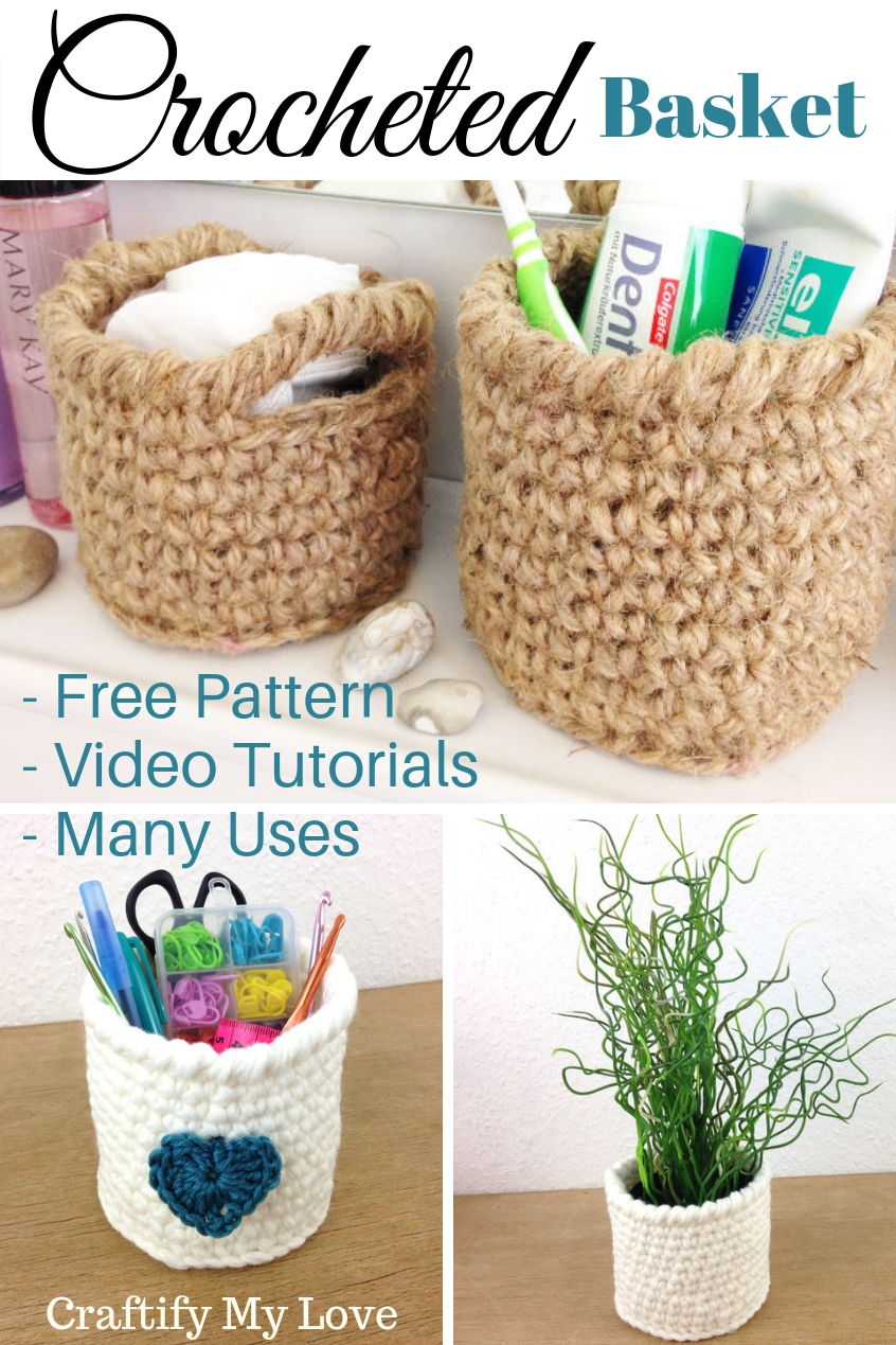 One pattern - many uses! These crocheted basket utensil holders can bring more organization and storage into your home all the while looking simply gorgeous. Or you make them as a wonderful handmade gift for friends or family. #craftifymylove #freecrochetpattern #freecrochetcourse #beginnerfriendly #manypurpose #manyuses #giftidea #DIY