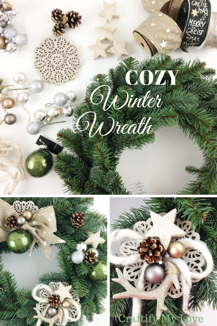 DIY cozy hygge winter wreath using all sorts of natural craft supplies to bring warmth into your home this holiday season. Learn how to put together a unique design with what you have at hand. #craftifymylove #frugalhomedecor #christmas #winter #wreath #DIYchristmasdecor #felt #wood #christmasornaments #rawwool #burlap #ribbon