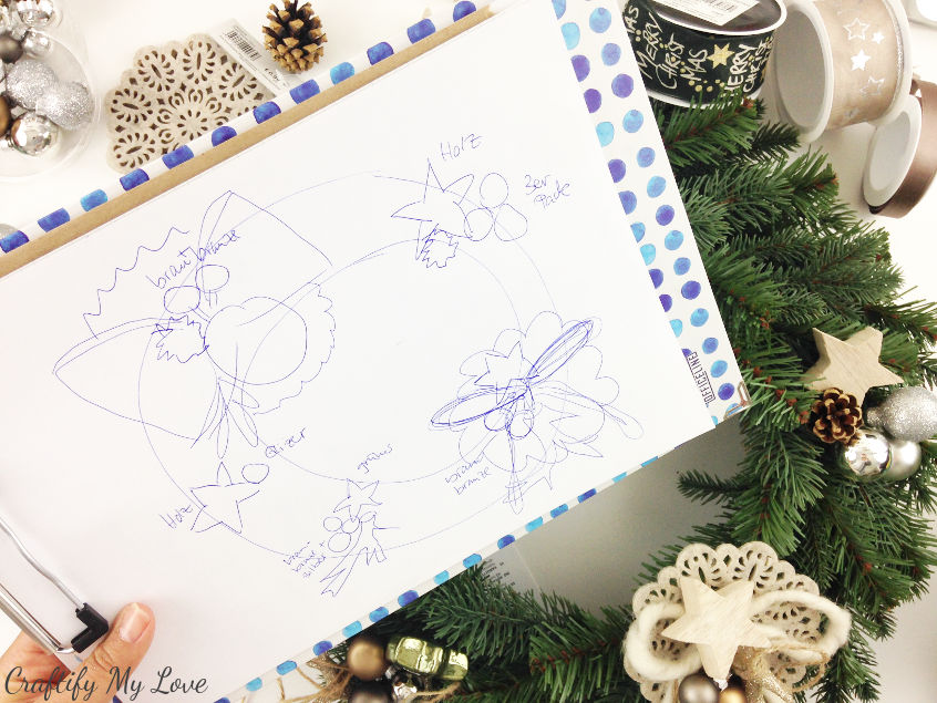 DIY tip: make a quick sketch of your design arrangement before putting the wreath together