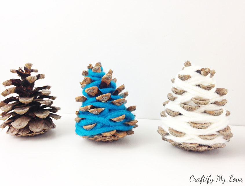 frugal hygge Christmas decor from yarn and nature goods