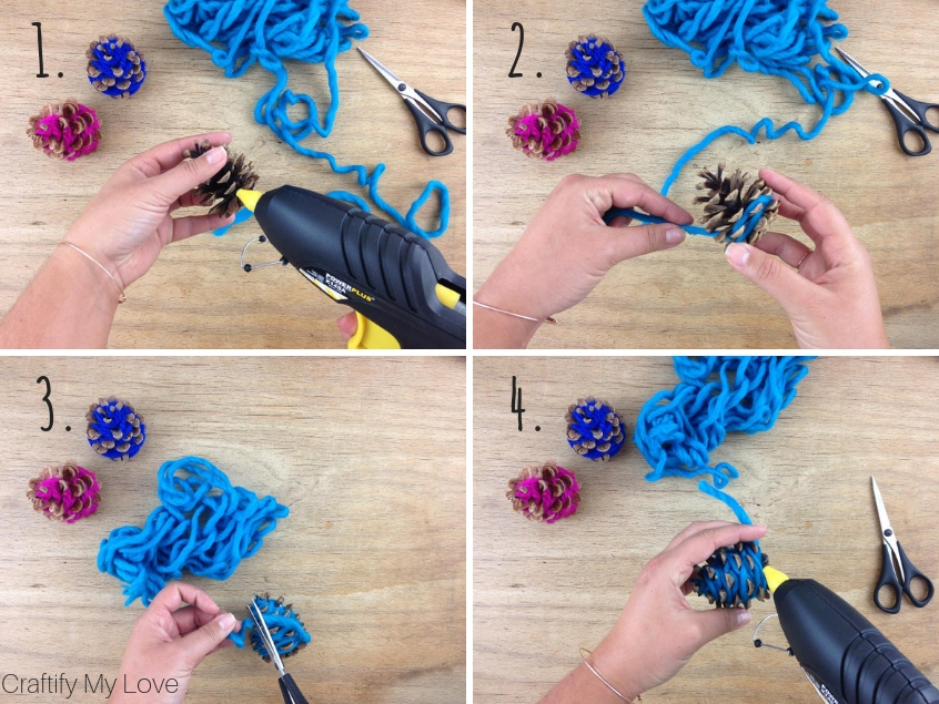 step by step instruction: hot glue yarn to pine cone, wrap yarn around it, cut off and use hot glue to fix yarn to pine cone.