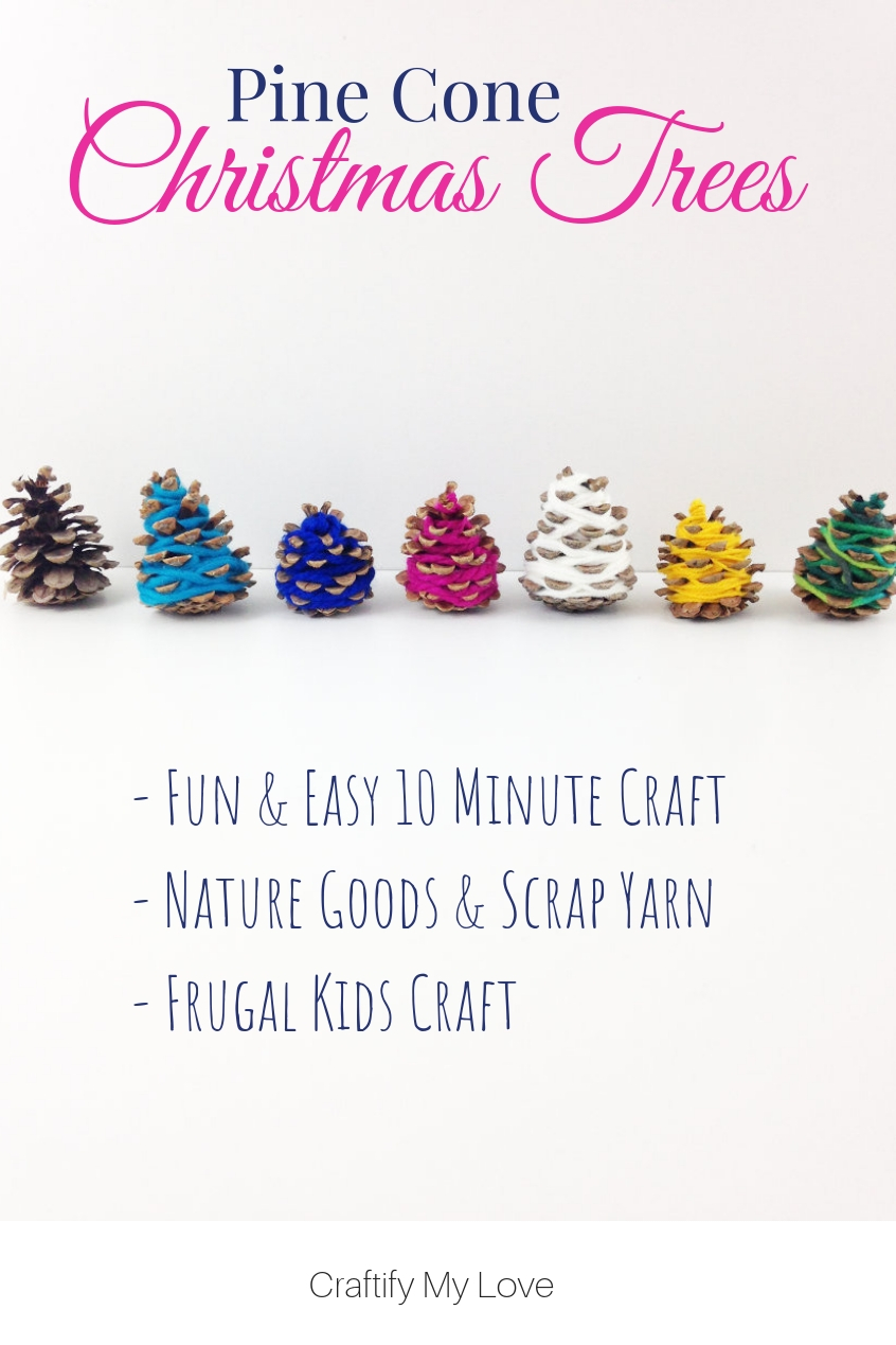 Kids Christmas Craft using nature goods and scrap yarn. Click to learn how to do this Quick & Easy 10 minute craft. Video tutorial included. #craftifymylove #kidschristmascraft #10minutescraft #homedecor #naturcraft