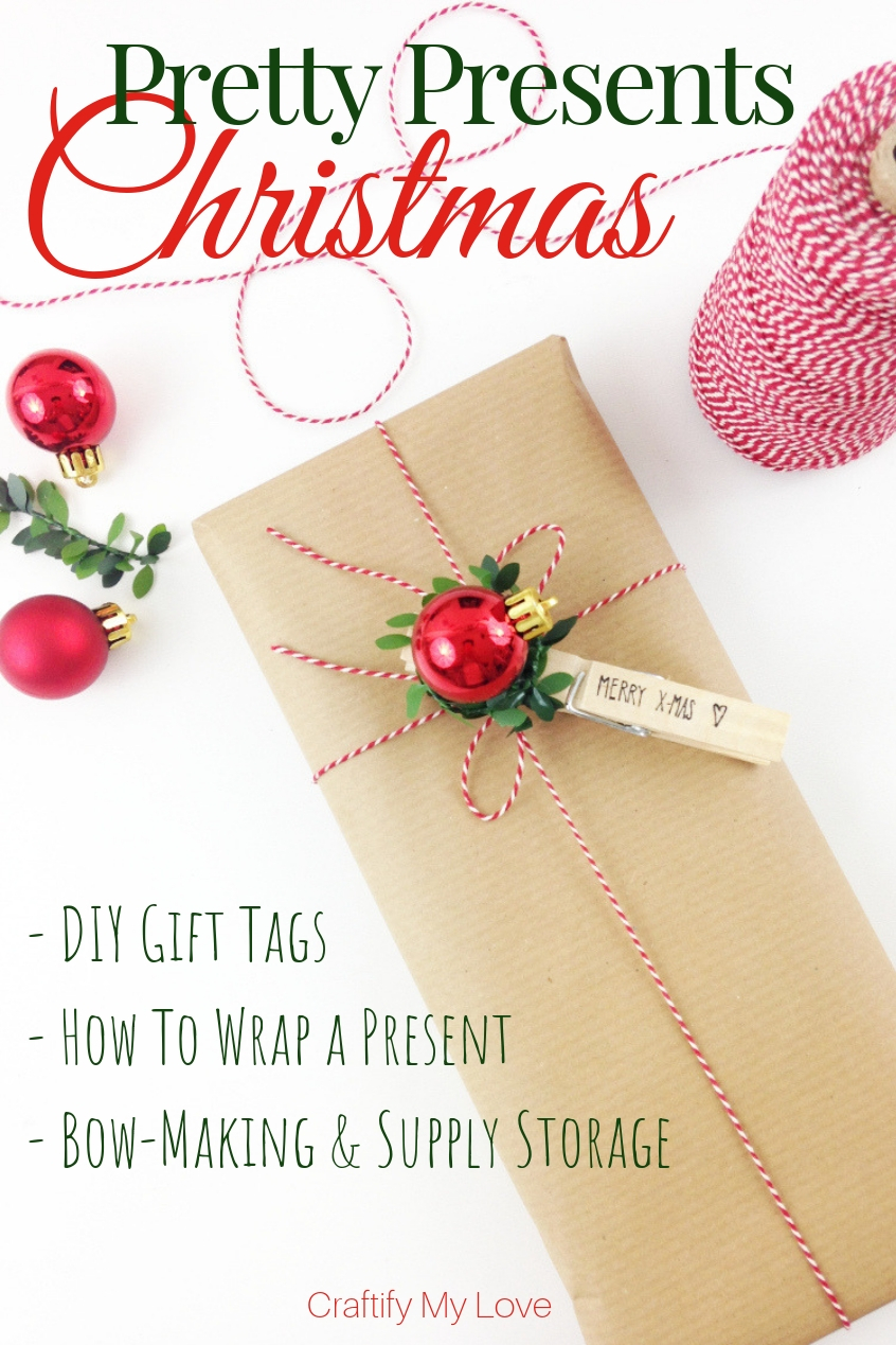 Pretty Christmas Presents: Click for Tips on DIY gift tags, how to actually wrap a present, bow-making, and gift wrapping supply storage. #craftifymylove #giftwrappingideas #Christmas #gifttags #DIY #recycablegiftwrapping #brownpaper