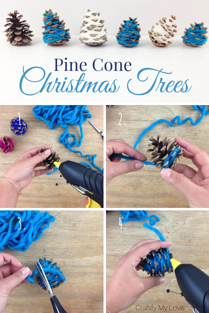 Step-by-step directions to frugal Christmas home decor. Learn how to make these decorative hygge mini Christmas trees from scrap yarn and pine cones today. #craftifymylove #hygge #christmasdecor #DIY #naturecrafts #frugalDIY #coastalchristmasdecor