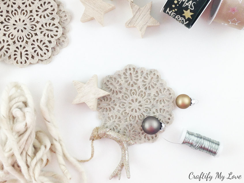 supplies to DIY a cozy and rustic winter or Christmas wreath