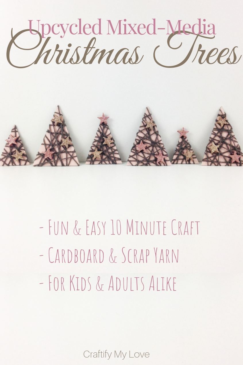 These upcycled Mixed-Media Paper Christmas trees are made in under 30 minutes and will bring festive vibes into your home immediately. Click for instructions including a video. #craftifymylove #upcycling #recyclingcraft #christmasdecor #frugalhomedecor #hyggechristmas #winterdecor #DIYdecorations