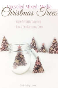Upcycling idea for a frugal Christmas decor: Recycled paper Christmas trees in a jar. Click to see how simple & inexpensive this project really is. #craftifymylove #inexpensiveChristmas #moneysavingtips #Christmas #kidscraft #recyclingcraft #videotutorial