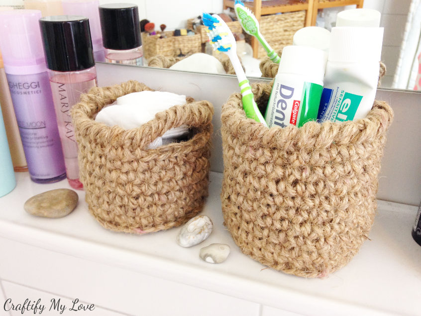 Bathroom refresh with some crocheted burlap baskets to hold all sorts of beauty utensils