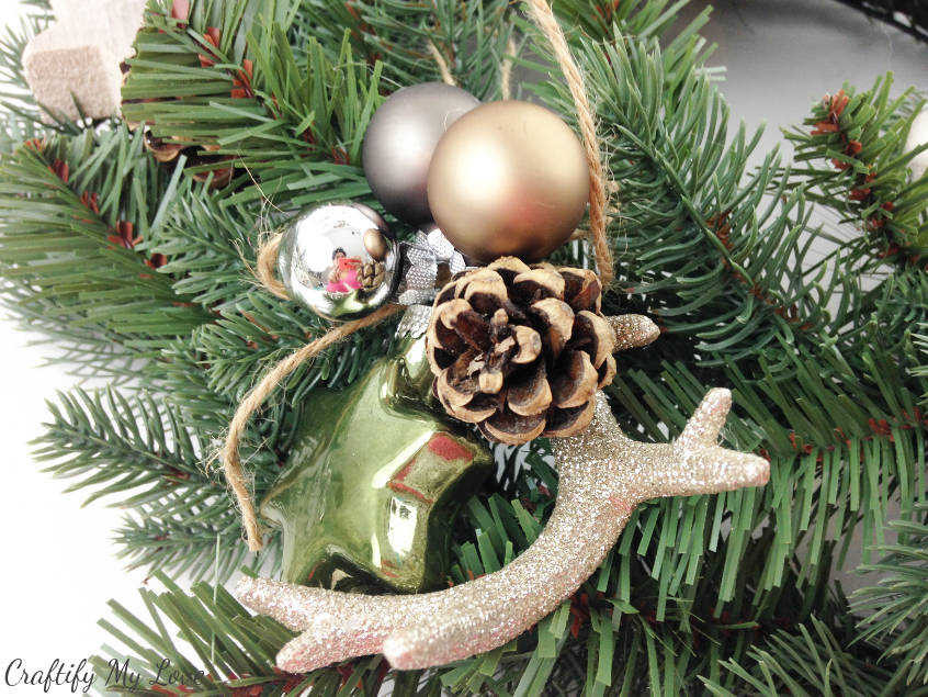green and beige Christmas ornaments design for Christmas wreath or tree