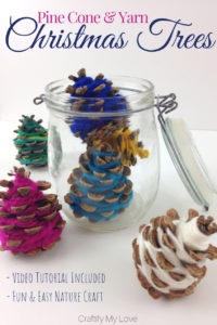 Fun & easy kids nature craft for Christmas that can be transformed into a beautiful home decor element in minutes. Click through for free tutorial. #craftifymylove #kidschristmascraft #kidscraftforchristmas #naturecraft #pinecones #giftidea #christmasdecorstorageidea