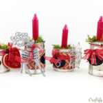 recycled tin cans advent wreath decoration in red and greens for that typical farm house flair