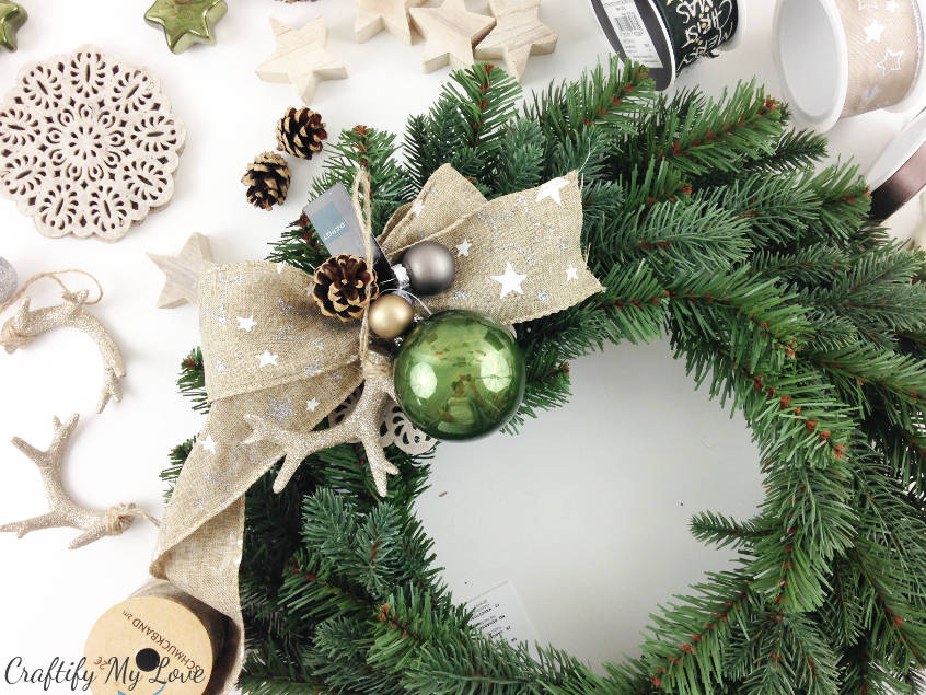 start creating a design for your rustic yet sparkly Christmas antlers wreath