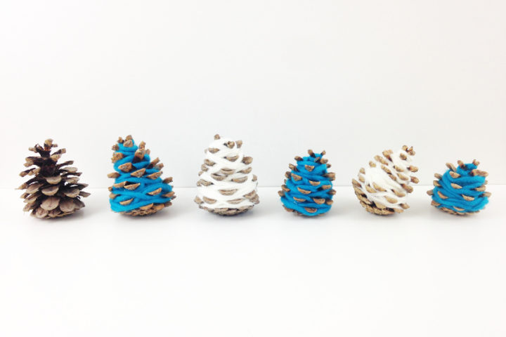Teal and white DIY Christmas home decor: Mini pine cone Christmas tree