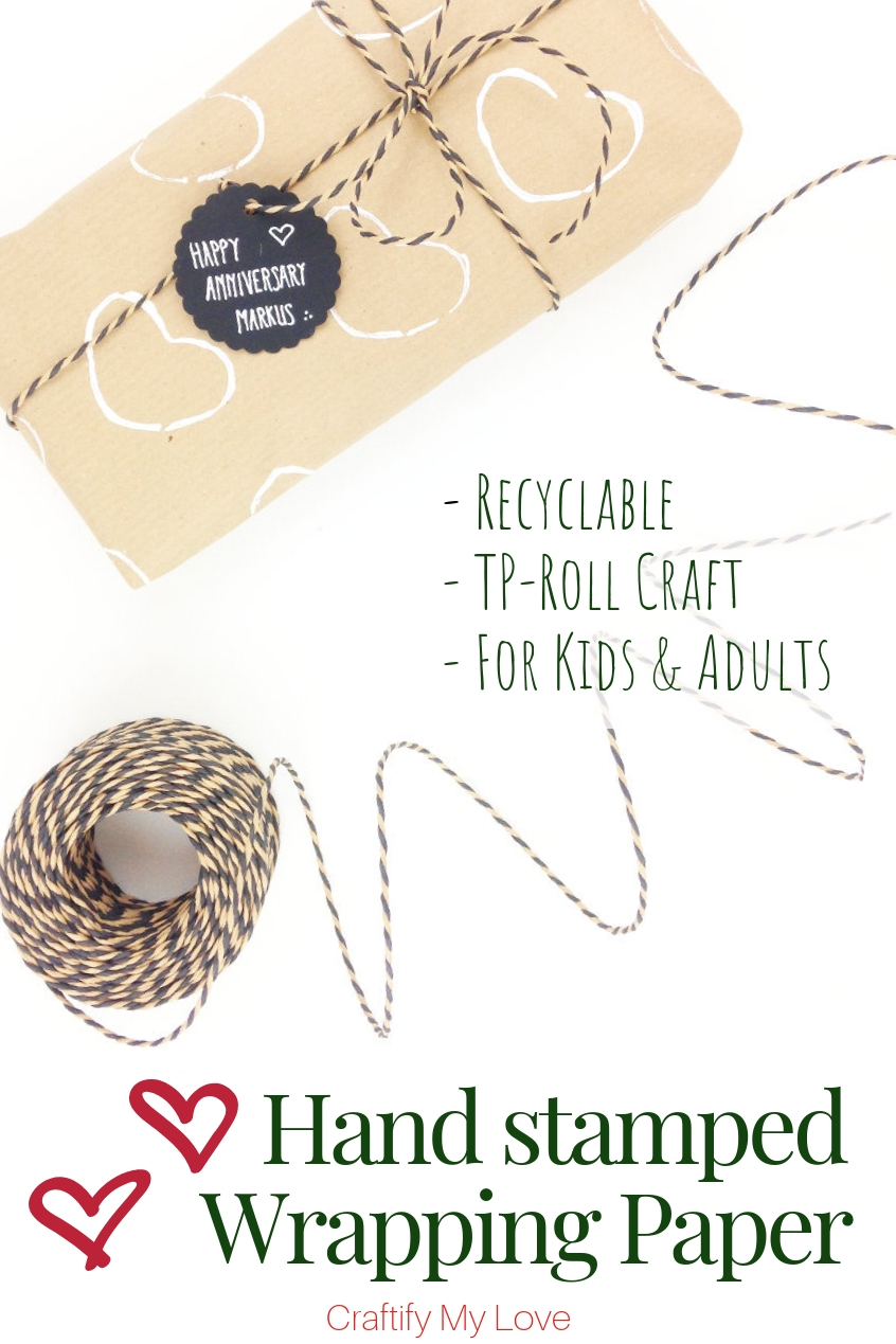 DIY recyclable hand stamped gift wrapping paper for kids and adults alike to make. Click to learn how this fun recycling craft using toilet paper rolls is done. #craftifymylove #kidscraft #ValentinesDay #recyclingcraft #tprollcraft #handstampedgiftwrappingpaper