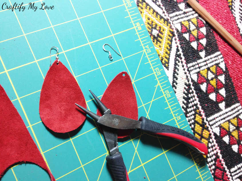 Add fish hooks or fresh hooks earring wires to your DIY red velvet teardrop shaped earrings for Valentine's Day