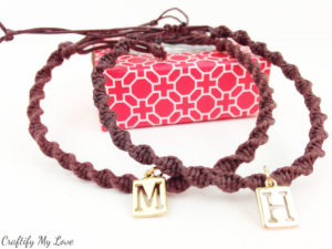 DIY jewelry macrame spiral bracelet with charm for couples or bff's