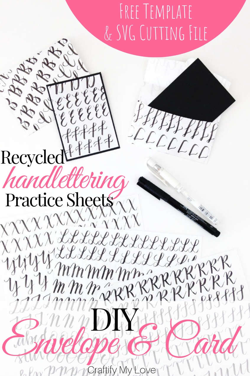 Use those hand lettering practice sheets and turn them into DIY mini envelopes and cards. You'll find a FREE template to handmade this frugal and fun recycling project on the blog, same as a FREE SVG cutting file if you'd rather work with your cutting machine. Click to get those freebies now! #craftifymylove #freesvgcuttingfile #freetemplate #DIYenvelope #DIYcard #recyclingproject #upcycling #handlettering #handletteringpracticesheets