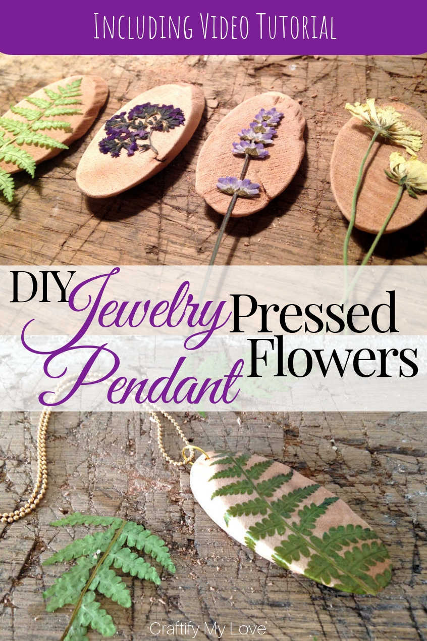These unique handmade pendants from pressed and dried flowers and a wood slice make for a wonderful DIY jewelry gift idea. It's a frugal nature craft combined with a dollar store craft. Click for step-by-step instructions including a video tutorial. #craftifymylove #diyjewelry #naturecraft #dollarstorecraft #pressedflowers #necklace #DIYpendant #DIYgiftidea