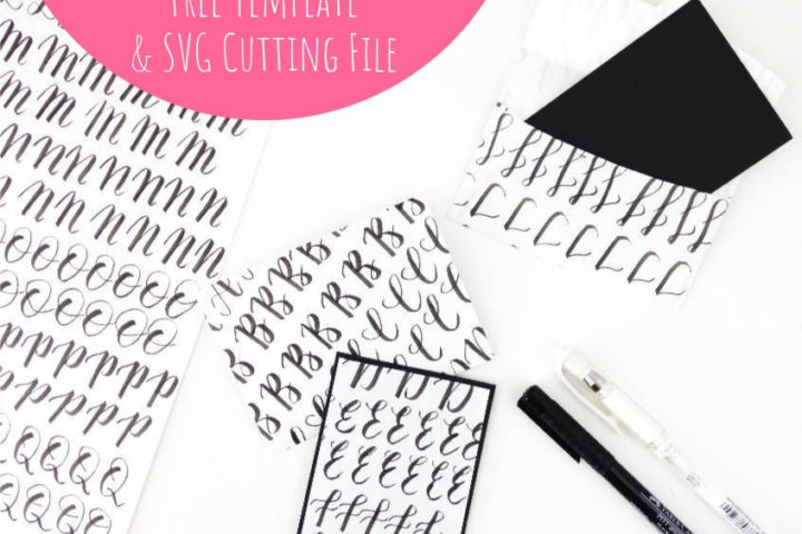 recycled hand lettering practice sheets DIY mini envelope and card - free template and SVG cutting file