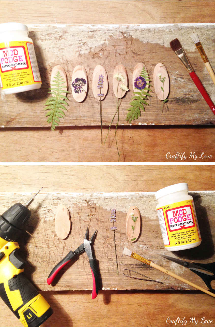 Supplies to make dried flowers wood pendant DIY jewelry