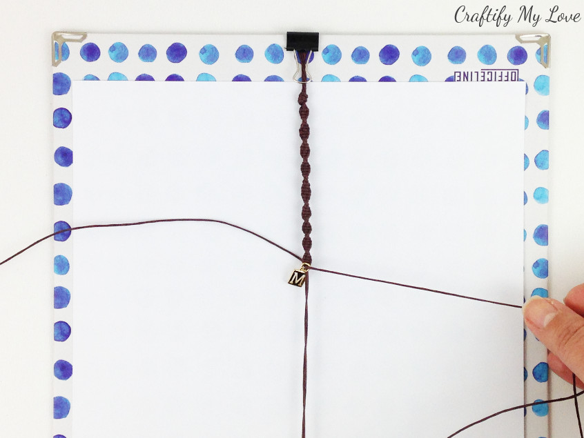 how to add a charm to a diy macrame half-knot bracelet