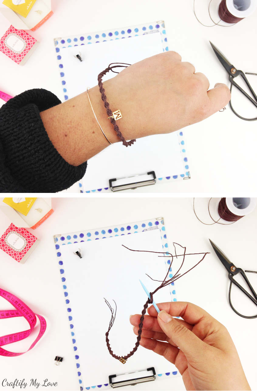 how to add a charm and finish a diy macrame bracelet