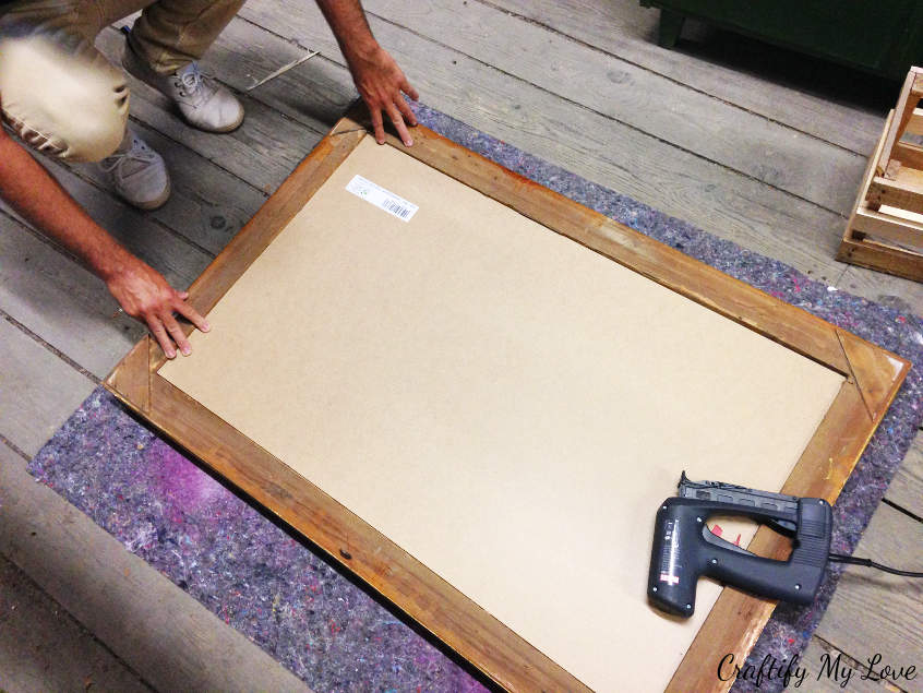 place your chalk board painted plywood into the empty frame and install it by using a nailgun