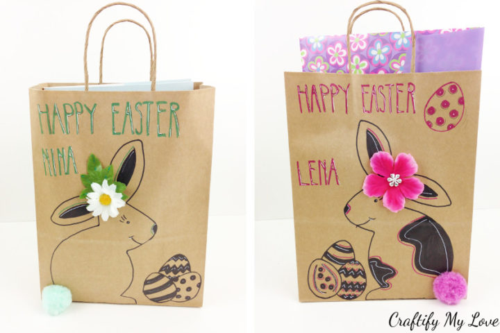 How to make last minute Easter gift bags or Easter baskets from upcycled brown paper bags