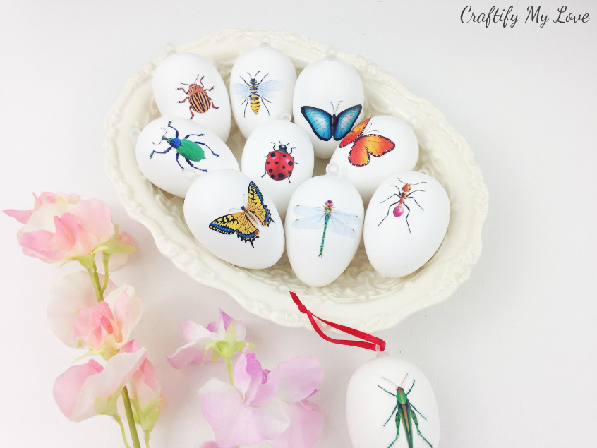 Learn how to make DIY insect decoupage Easter eggs with this easy to follow video tutorial