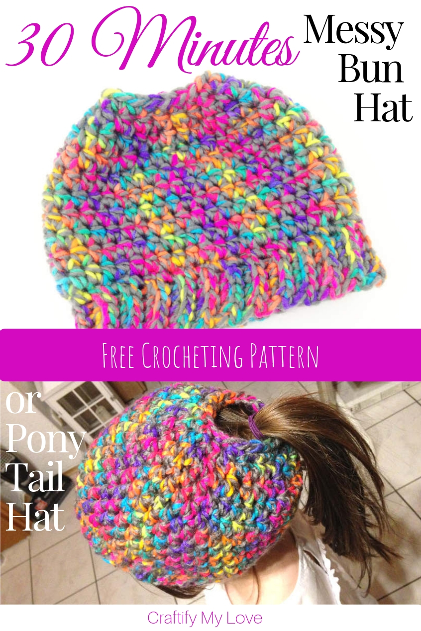Learn ow to crochet this messy bun hat or ponytail hat in only 30 minutes today. Click for free crocheting pattern! #craftifymylove #messybunhat #crochet #freepattern #ponytailhat #crochetedhat #littlegirlshat