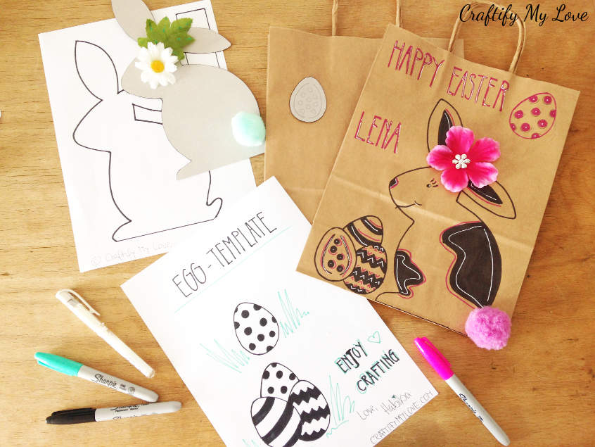 Super simple last minute Easter gift bags including video tutorial and free bunny template for this fun sharpie craft