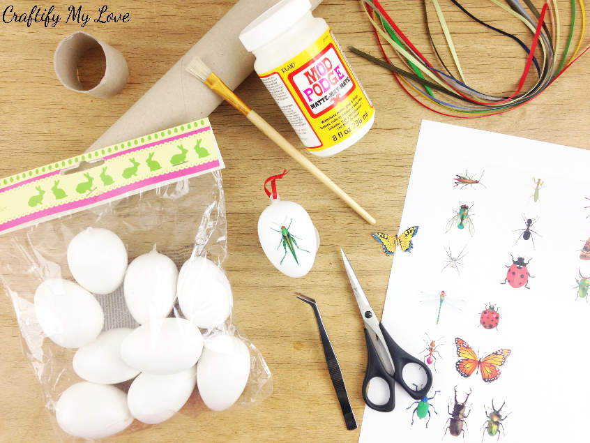 Supplies to DIY decoupage Easter eggs with butterfly or insects motive
