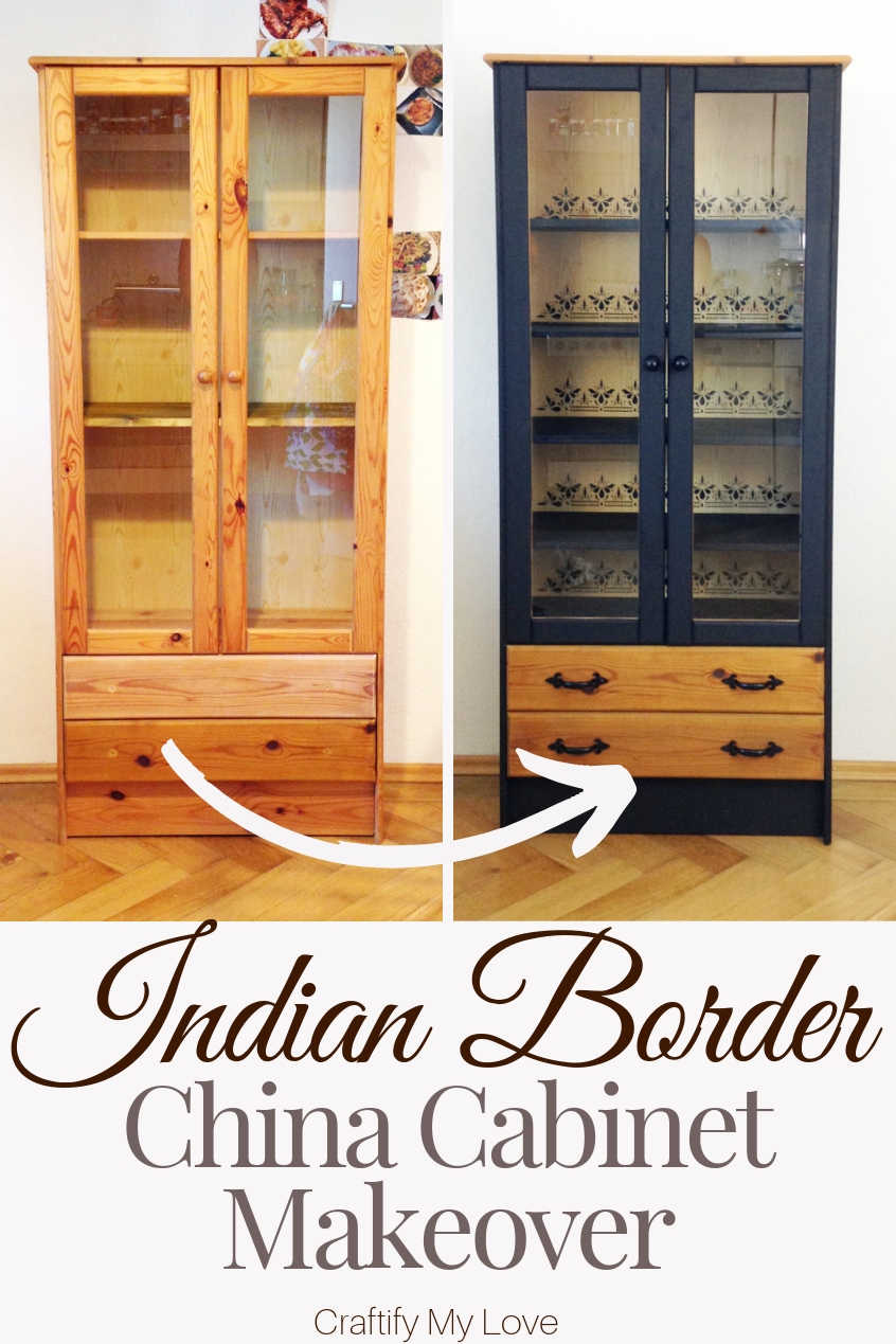 Easy China Cabinet Makeover with Stencil and Paint. Click through for directions and a full supplies list. #craftifymylove #chinacabinetmakeover #furnituretransformation #fixerupper #stencilandpaint #frugalkitchenupdate