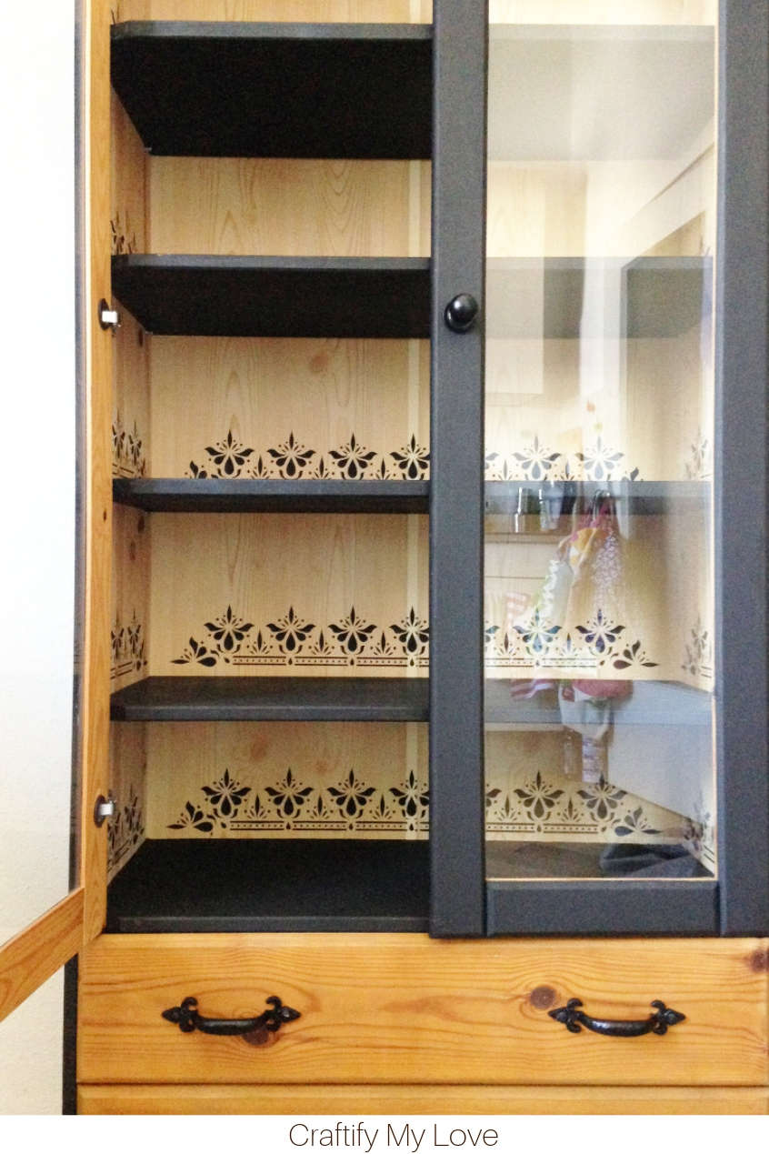 Indian Border Stenciled China Cabinet Makeover. Click to see how easy it is to recreate this look. #craftifymylove #chinacabinetmakeover #stencilingproject #kitchenupdate #dizzyduckdesigns