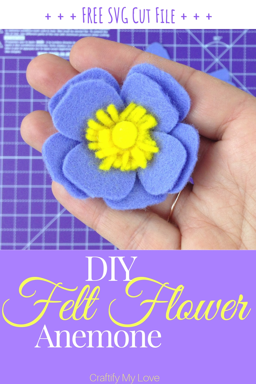Learn how to DIY a beautiful felt anemone using this free template svg cut file for your cutting machine. #craftifymylove #feltflower #freetemplate #freesvg #howtomakeafeltflower #cricutmaker #scanncut