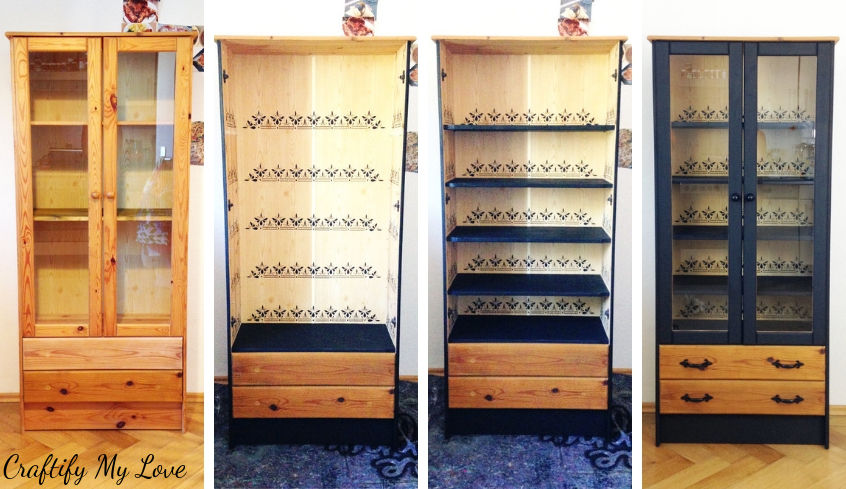 Step by step quick and easy china cabinet transformation using stencil and some paint