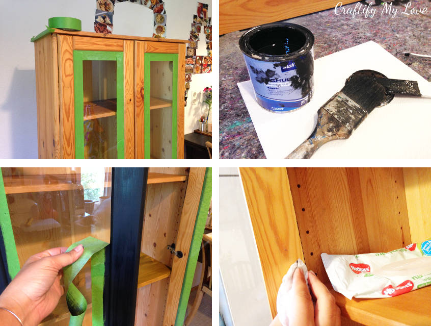 how to paint kitchen cabinets or a china cabinet to protect the glass windows