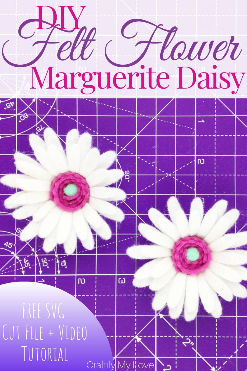 Easy to follow video tutorial: DIY felt flower Marguerite Daisy. Click through for detailed instructions + free template and Free SVG Cut File. #craftifymylove #freesvgcutfile #feltflower #feltmarguerite #feltdaisy #howtomakeafeltflowerusingacricutmaker #cricutcraft