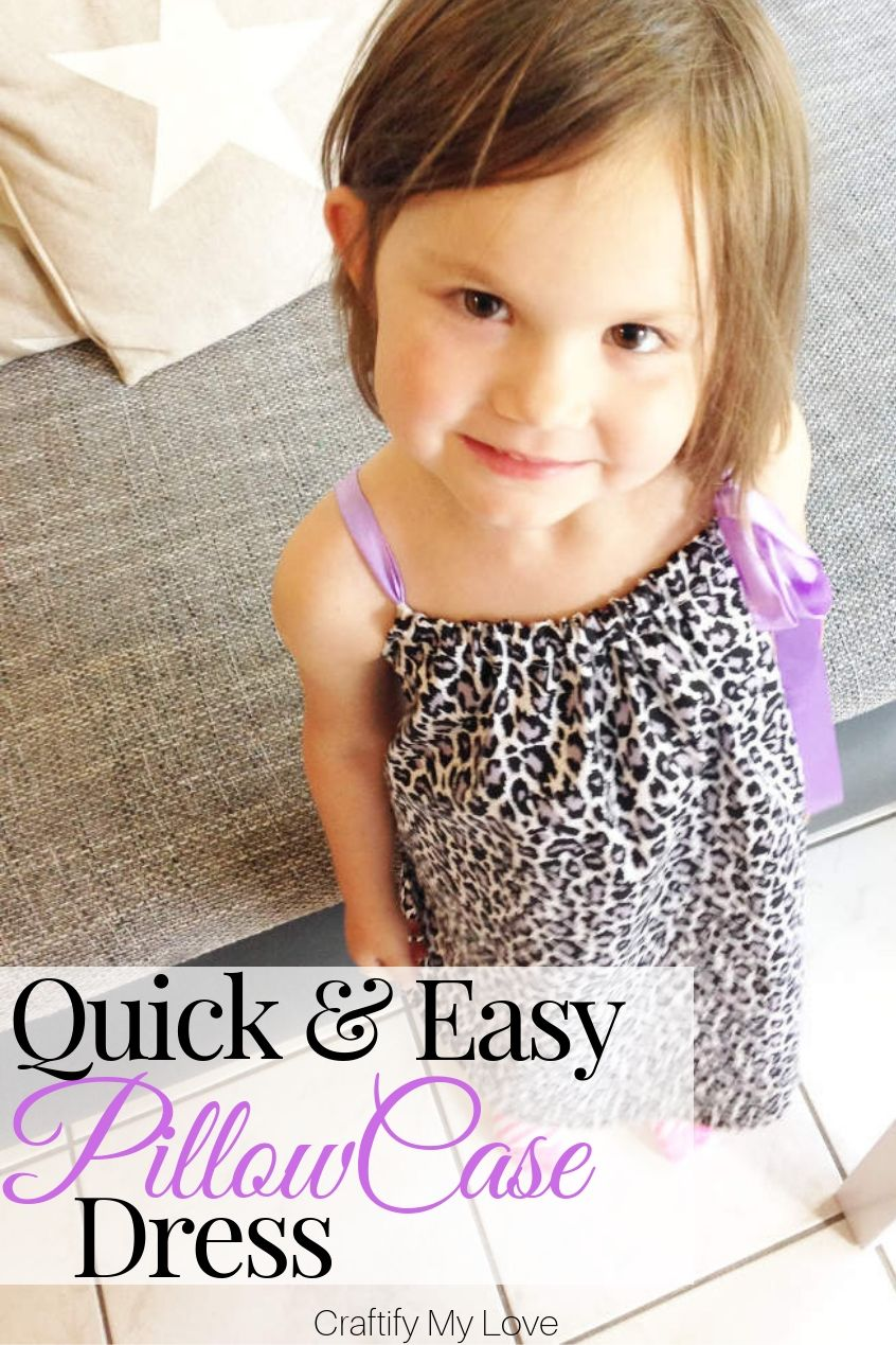 How to make the pattern and sew a simple pillowcase dress for your little girl this summer. Click for a detailed step-by-step tutorial including video instructions. #craftifymylove #pillowcasedress #girlssummerdresspattern #easysewingtutorialforgirls #freepatterndressgirl