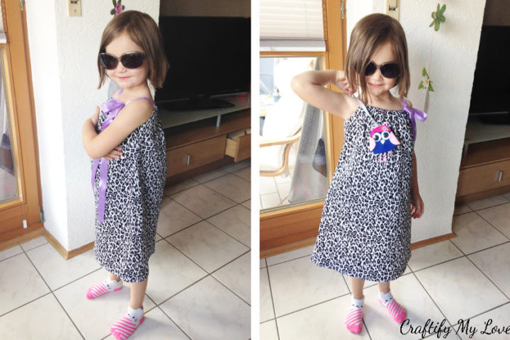 easy to sew summer dress pillowcase dress for girls in leopard and purple free pattern