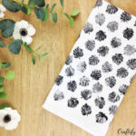How to handstamp a DIY dish towel sporting beautiful monstera leaves