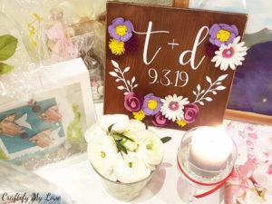 Initials wood sign with felt flowers: DIY wedding gift idea