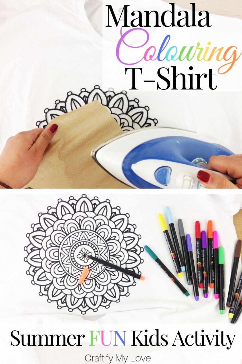 Designing a DIY Mandala Colouring T-Shirt is a fun summer activity for kids and grown ups alike on a rainy day. Click through and learn how to make your very own unique colouring t-shirt yourself or buy one if you're on a tight schedule! #craftifymylove #mandalacolouringtshirt #mandala #colouringsheet #kidsactivityforsummer #summerfun #uniquetshirtdesigns