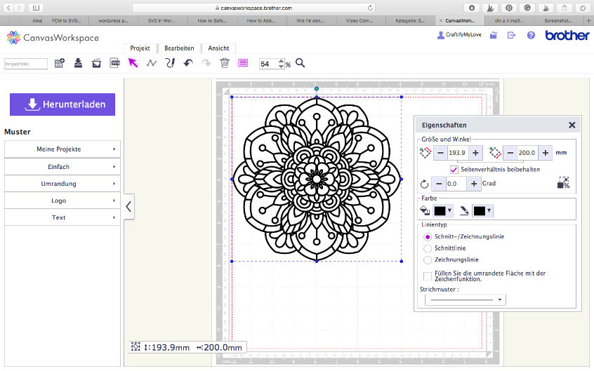 Brother ScanNCut designspace: resizing and preparing the cut file for DIY Mandala Colouring T-Shirt