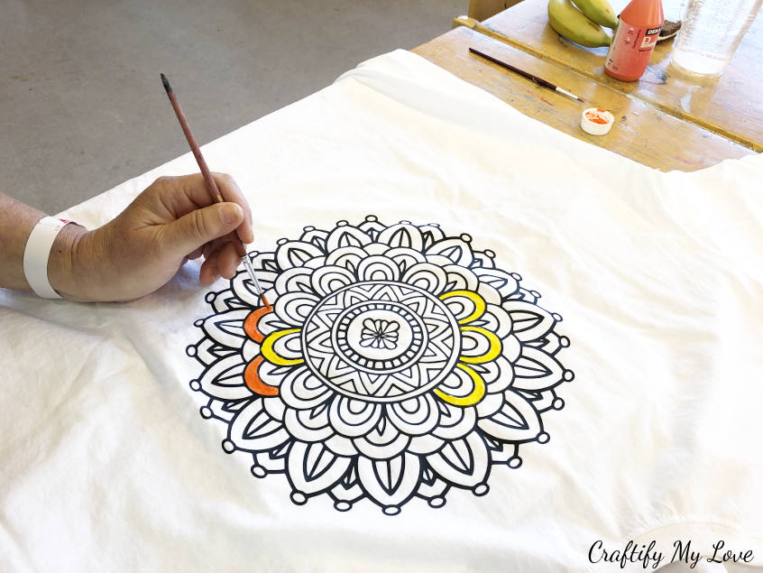 colouring for adults: t-shirt design mandala summer activity for kids using fabric paint