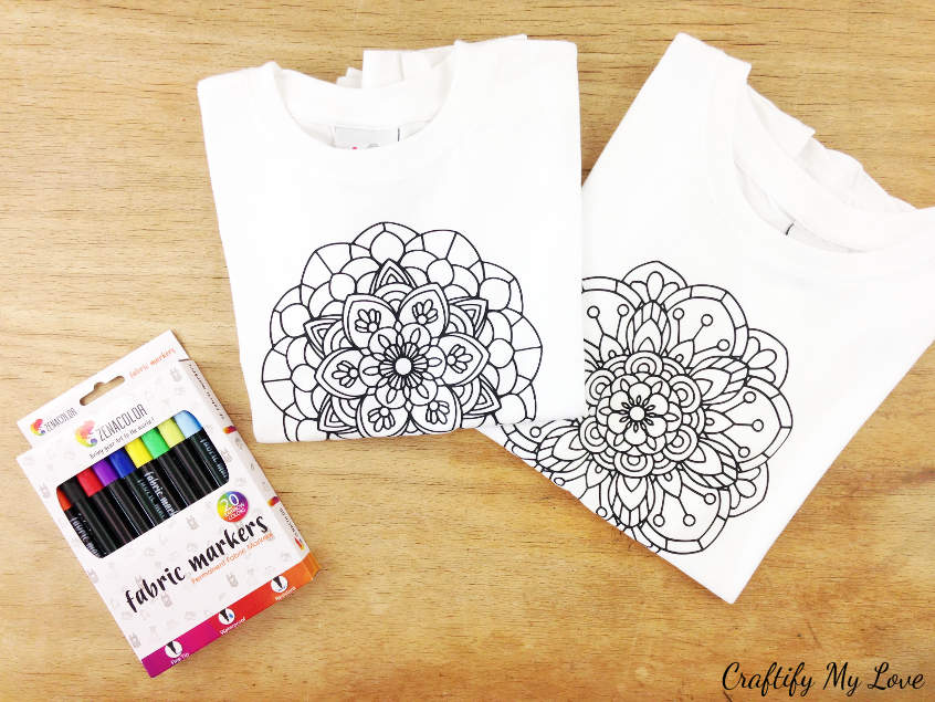 creative summer activity for kids for a rainy day: Mandala colouring t-shirt using fabric markers